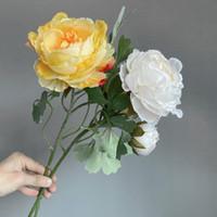 2Heads / branche pivoine avec feuilles de soie fleurs artificielles de la chambre indie décor flores artificiels couronnes décoratives