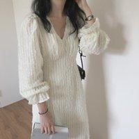 Abito autunno inverno donne lungo elegante manica completa con scollo a V allentato a-line a vita alta ladies es vintage casual vestidos 8zxz faaw