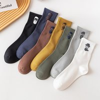 20 Autumn and Winter Pure Color of Tall Waist Mens Socks Cotton Avatar of Personality Man Funny Socks