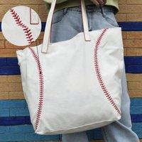 Bolso de compras de lona de béisbol impreso de seda 25pcs lote GA Warehouse gran capacidad latice bolsas de viaje accesorios de equipo Tote Domil1772