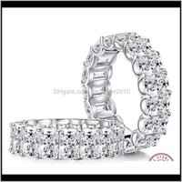 Cluster Rings Drop Delivery 2021 Radiant Cut 4*6Mm Lab-Created Diamond Ring Wedding Proposal Brand Shining Fine Jewelry 925 Sterling Sier Ban