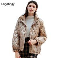 Downs lagabogy 2021 outono inverno branco pato para baixo jaqueta mulheres curta outwear solto casual casaco ultra luz feminina fina parkas