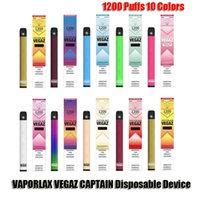 Оригинальный Vaporlax Vegaz Captain Одноразовый POD Устройство набор устройств 1200 Средства 700 мАч Батарея 4ML Предварительный картридридж Vape Pen Authentific VS MATE BAR PLUS