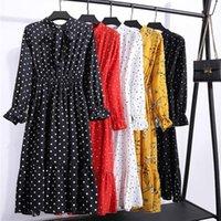 Casual Dresses Women's Autumn Dress Antique Floral Print Chiffon Shirt Long Sleeve Bow Flower Bohemian Club Winter OK