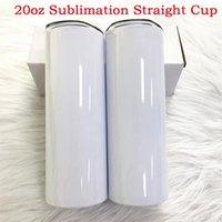 20 oz Sumblimation Düz Kupası Drinkware Tumbler Kapaklı ve Saman Beyaz Kutu Paketi Ile DIY Boş Su Şişeleri