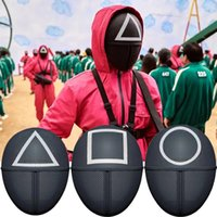 TV Squid Game Black Mask Cosplay Round Six Square Circle Triangle Plastic Helmet Masks Halloween Masquerade Party