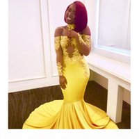 Yellow Long Mermaid Prom Dresses 2019 New Off The Shoulder Long Sleeve Evening Dress Lace Applique Sweep Strain Party Gowns Custom Made