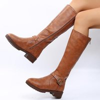 Boots PU Leather Knee High Women Platform Shoes Woman Retro Punk Height Increasing Long Double Zipper Booties Mujer 2021