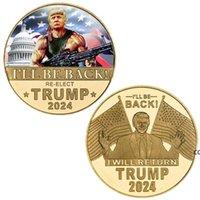 ترامب 2024 عملة تذكارية الحرفية الحرفية الانتقام تنقذ أمريكا مرة أخرى شارة معدنية سوف أعود DHE8565