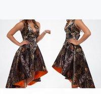 사용자 정의 만든 Camo Bridemaid 드레스 홀터 넥 하이 낮은 백리스 하녀의 명예 가운의 라인 위장 된 신부 들러리 드레스