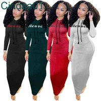 Designer Women Casual Dresses Hoodies Drawstring Maxi Dress Long Sleeves New Leisure Letter Printed Solid Color Pleated Skirt 4 Colours
