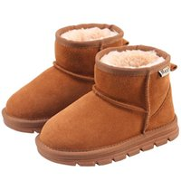 Boots Baby Kids Leather Solid Color Snow 1 3 5 7 Years Toddler Girl Winter Warm Shoes Boy's Fur Plush Botas Size 22-35