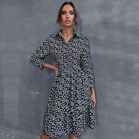 Skirt 2021 Autumn Winter New Floral Lapel Button Untwistable Shirt Dress