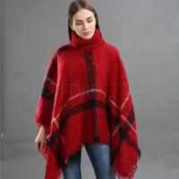Fashion Woman Plaid Cloak Lady Grid Poncho Sweater Wraps Vintage Shawl Cardigan Tassel Knit Scarves Tartan Winter Blankets BWF11083