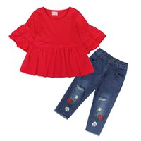 Blotona Kinder Baby Mädchen Sommer T-Shirt Tops Kleid Kleidung + Stickerei Blumen Jeans Hosen Outfit Set 1-6Years 1256 y2