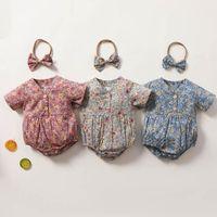 Girls Rompers Baby Bodysuits Clothes Toddler Jumpsuit Summer Cotton Short Sleeve Flower Princess Dress Newborn Romper One Piece Clothing Headbands 2Pcs Sets B6175