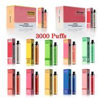 Hotbar Süper Mega 3000Puffs Tek Kullanımlık Kalem Vape Elektronik Sigara Güvenlik Kodu 10 Renkler Ile 1300 mAh Pil 9 ml Pod Tek Kullanımlık Cihaz Kiti Dazzle