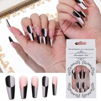 False Nails 24Pcs Long Ballerina With Black&White Design Detachable Coffin Manicure Patches Press On Full Cover Nail Tips