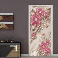 Autoadhesivo puerta pegatina wallpaper 3d stereo joyería flor murales sala de estar dormitorio lujo decoración casera impermeable calcomanías fondos de pantalla
