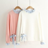 Women's Hoodies & Sweatshirts Harajuku Kawaii Long Sleeve Crop Tops Japan Style Women Ruffled Loose Patchwork Bow Short Pullovers