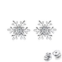 Women's Stud Diamond Earrings Snowflake 925 Silver Needle Womens Niche Trend Small Fresh Wedding Party Crystal Earring Jewelry