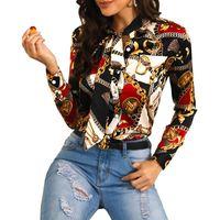 여성 디자이너 넥타이 옷깃 목 블라우스 봄 가을 체인 인쇄 셔츠 럭셔리 꽃 블라우스 여성 가을 패션 탑 긴 소매 셔츠
