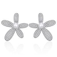 Nueva forma de flor Forma Cubic Zirconia stud con perla oro plata color lindo estrella pendientes para mujer joyería regalo