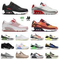 nike air max airmax 90 90s En Kaliteli 2021 Yeni Mens Bayan 90 S Boyası ABD 12 Koşu Ayakkabıları Kabarcık Yeşil Üç Kişilik Beyaz Gri HavaAir MaxMax Sneakers Eğitmenleri 36-46