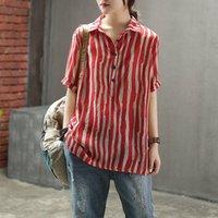 Fje novo estilo verão camisa mais tamanho manga curta solta senhoras casuais tops listrado algodão linho vintage blusa feminina D4 210317