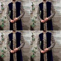 Abbigliamento etnico Abbigliamento musulmano Abaya Uomo Abiti Arabi Qamis Man Jubba Thobe Kaftan Dress di alta qualità Stampa oro Modest Maschio islamico