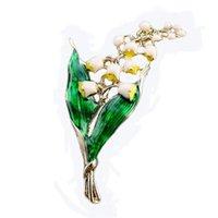 핀, 브로치 우아한 유니섹스 골든 도금 릴리 밸리 플로레스 Convallariae 그린 에나멜 금속 정장 드레스 코트 헝겊 예술 잎