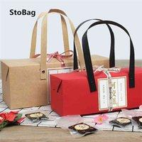 StoBag 10pcs Kraft/Red Paper Protable Box Wedding DIY Handmade Gfit Supplies Baby Shower Kind Favor Candy Baking Packaging 210326