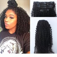 """Afro Kinky Curly Clip In Human Hair Extensions 120g Mongolian Human Hair African American Clip In Extensions 10""""-26"""" Clip Ins"""