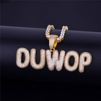 New Men&#39s Custom Name Necklace Small Bubble Letters Pendant Ice Out CZ Stone Hip Hop Jewelry With 20inchTennis Chain