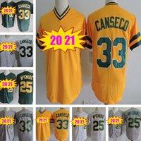 레트로 최고 품질 33 Jose Canseco Jersey Mark 25 McGwire Mens 흰색 회색 노란색 스티치 남자 야구 유니폼
