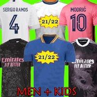 레알 마드리드 21 22 축구 유저 위험 Sergio Ramos 벤즈마 Asensio 축구 셔츠 Camiseta 남자 키트 세트 2021 2022 4 번째 휴머니