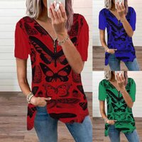 Women's T-Shirt Butterfly Printing 90s Cute Short Sleeve Loose Casual Plaid Pocket V-neck Tops Female Clothes Tees Tshirt