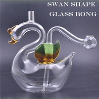 Newest swan animal 10mm Female Mini colorful Glass Oil Rigs Bongs Water Pipes with 10mm glass oil bowl and silicone straw