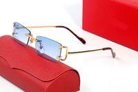 2021 Designer Sonnenbrille Randlose Brille Männer und Frauen Mode Metall Rechteckige Rahmen Adumbral Luxus Eyewear Zubehör Rot Blau Mit Original Box