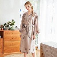 Casual hembra hogar desgaste camisón verano kimono albornoz sexy novia boda túnica impresa flor satin sleepwear vestido de sueño y4j1 #