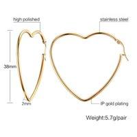 QWC TBB70 Arrivo Moda gioielli regalo di compleanno regalo di compleanno colore con pietra grande forma cuore semplice in acciaio in titanio donna orecchino 210325