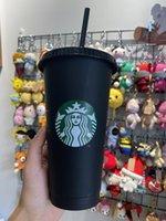 Starbucks Meerjungfrau Göttin 24z / 710ml Kunststoff Becher Tumbler wiederverwendbar schwarzes trinkendes flacher boden säulenform deckel straw cups 50 stücke frei dhl