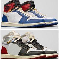 Alta qualidade união la x 1 alto og nrg branco tempestade azul varsity vermelho lobo cinzento sapatos de basquete homens 1s sapatilhas com caixa