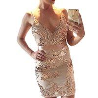 Sexy Womens Summer Dresses Elegant Sequins Deep V-Neck Evening Bandage Bodycon Club Party Mini Dress