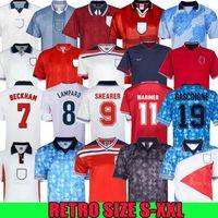 England Retro Jersey 1982 1986 1998 2002 2008 Shearer Beckham Soccer Jersey 1989 1990 Gerard Scholes Owen 1994 Hesque 1996 Gascoigne Vintage Camisa de Futebol Clássico