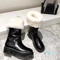 designer Autumn And Winter Womens Wool Snow Boots Long Patent Leather Fashion Slippers Red Bottoms Flat Shoe Vintage