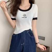 Women's T-Shirt Woman TShirts Embroidered Round Neck Pullover Short Sleeve Knitwear Summer 2021 Top Crop Mujer Camisetas