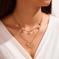 Boho Double Layer Choker Necklace OverSize Butterfly Pendant Gold Color Clavicle For Women Cute Collares Jewelry Chains