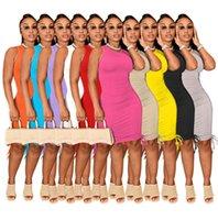 2021 Summer Women Casual Midi Dresses Round Neck Sleeveless Pleated Bodycon Pencil Dress Solid Color Elastic Slim Skirt Clubwear Plus Size