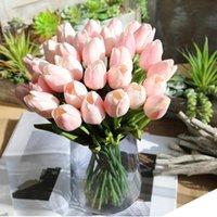 Manojo 5pcs Flores falsas artificiales Tulipán de tulipán floral Fiesta de boda Decoración del hogar 2O0125 Guirnaldas decorativas